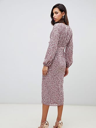 f9d269eb2ca Asos midi dress in allover scatter sequin with ribbon tie waist - Pink