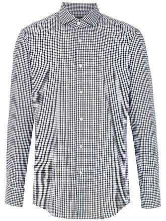 HUGO BOSS Camisa slim fit xadrez - Preto
