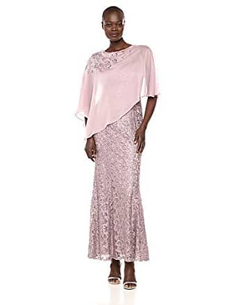 Ignite Womens Dress Zipper Sequin Lace Beaded Gown, Mauve, 12