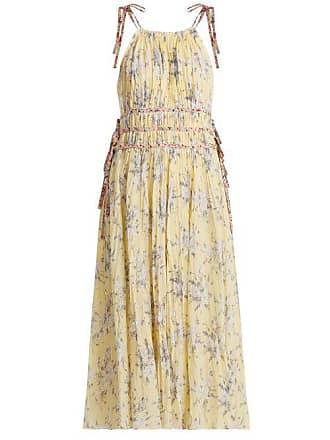 Rebecca Taylor Halterneck Floral Print Cotton Blend Dress - Womens - Yellow Print