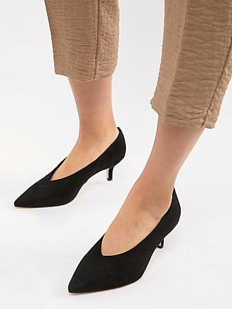 fb13708c7b5558 London Rebel Spitze Schuhe mit Kittenheel-Absatz in weiter Passform -  Schwarz