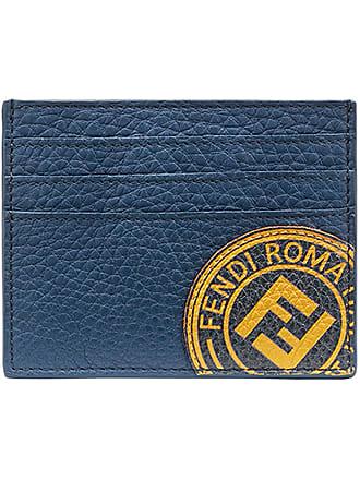 Fendi Porta-cartões de couro com logo - Azul