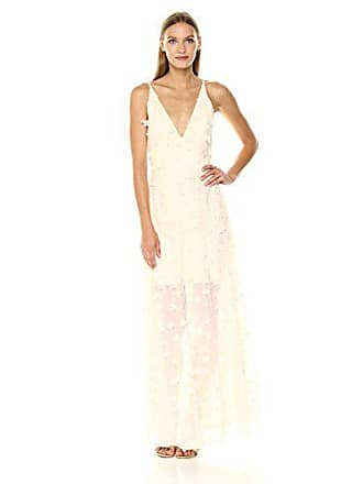 a97082e6f1b8 Dress The Population Womens Embellished Plunging Gown Sleeveless Floral  Long Dress, Cream, XL