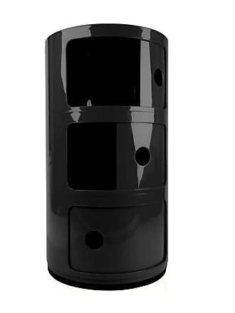 Kartell Componibili 3 Container - schwarz/glänzend/H 59cm/ Ø 32cm