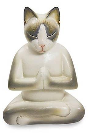 Novica 124168 Cat in Meditation Wood Sculpture