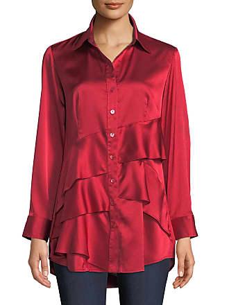c05daa8e53b75 Finley Plus Size Jenna Long-Sleeve Button-Front Tiered Ruffle Satin Blouse