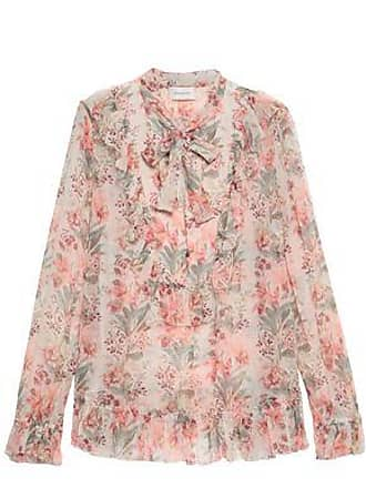 5758acdf5bfbd9 Zimmermann Zimmermann Woman Pussy-bow Floral-print Silk-georgette Blouse  Peach Size 1