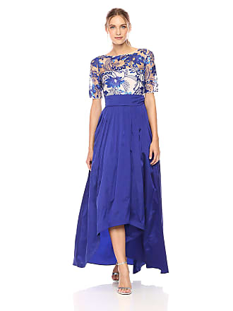 f5139bd265f18 Adrianna Papell Womens Short Sleeve Floral Lace Hi Lo Gown with Taffeta  Skirt