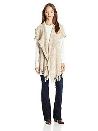 Kensie Womens Furry Mixed Media Sweater Vest, Mushroom Combo, Small