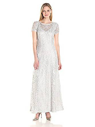Alex Evenings Womens A-line Lace Evening Dress, Silver, 14