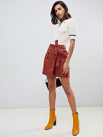 Vero Moda button front belted kilt mini skirt - Multi