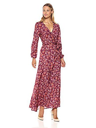 The Fifth Label Womens Long Sleeve Maxi Wrap Dress, Burgundy Aster, Large