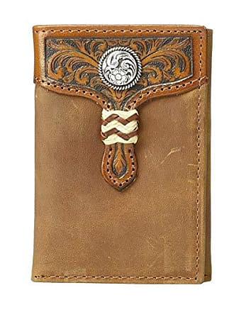 Ariat Rawhide Wrap Overlay w/ Concho Trifold Wallet (Medium Brown) Wallet Handbags
