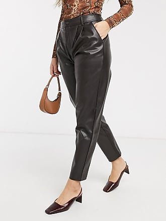 Mango faux leather trousers in chocolate-Brown
