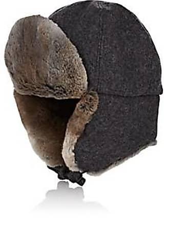 77f23977696 Crown Cap Mens Fur-Trimmed Melton Aviator Hat - Charcoal Size XL