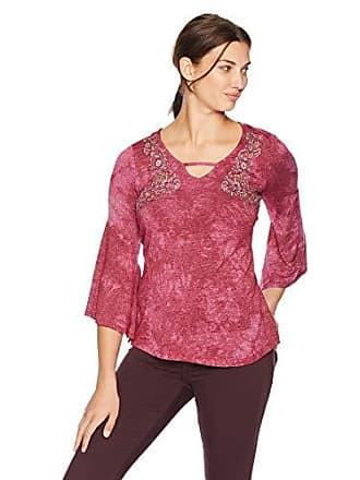 c6227e00 Oneworld Womens Bell Sleeve Tie Dye Embroidered Peasant Top, Folksy  Threads/Raspberry, XLarge