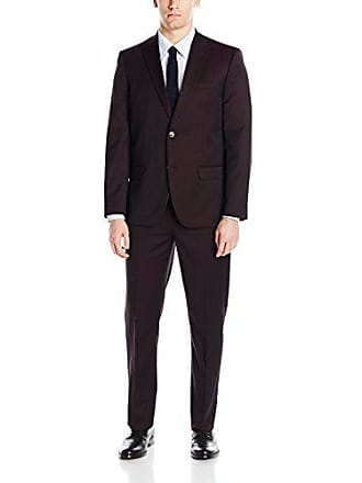 Ben Sherman Mens Two Button Slim Fit Suit, Burgundy Textured Solid, 40 Short