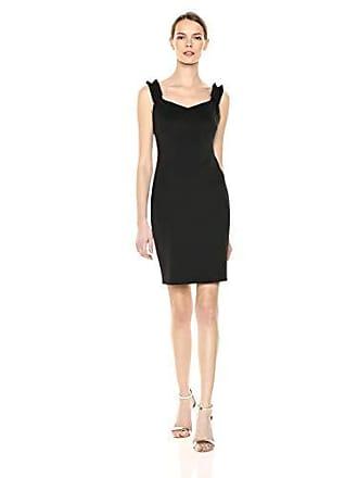 Calvin Klein Womens Sleeveless Sheath with Ruffle Straps Dress, Black, 6