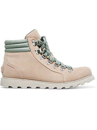 Sorel Ainsley Conquest Waterproof Suede And Leather Ankle Boots - Beige