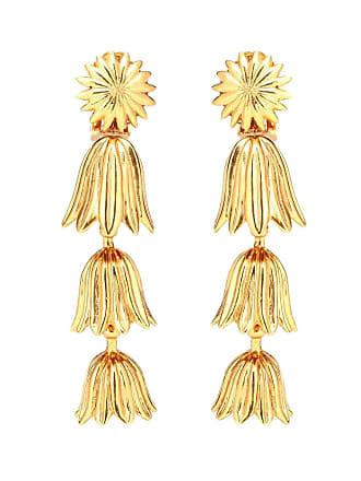 Oscar De La Renta Tiered floral clip-on earrings