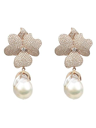 Latelita London Rose Gold Plated Silver White Flower Baroque Pearl Drop Earrings