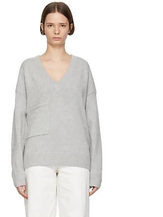 833ce5ed5d341f Tibi Grey Cashmere Patch Pocket V-Neck Pullover
