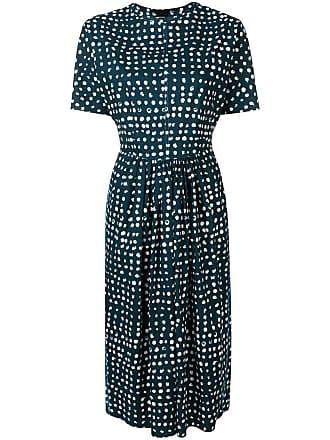 Marni printed fit-and-flare midi dress - Blue