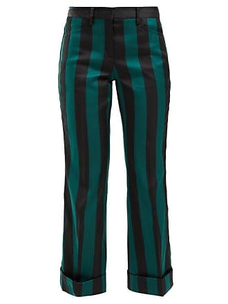 N°21 Striped Kick Flare Crepe Trousers - Womens - Black Multi