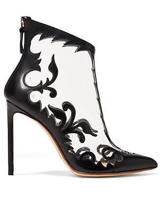 Francesco Russo Leather And Pvc Ankle Boots - Black