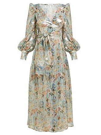Françoise Floral Print Silk Blend Lamé Wrap Dress - Womens - Silver