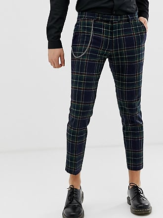 Twisted Tailor Pantaloni scozzesi affusolati con catena-Navy