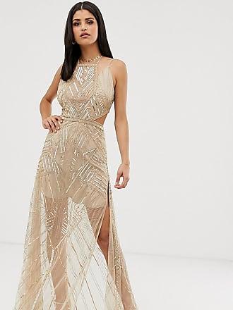 Asos Tall ASOS DESIGN Tall maxi dress with geometric embellishment and sheer panels - Gold