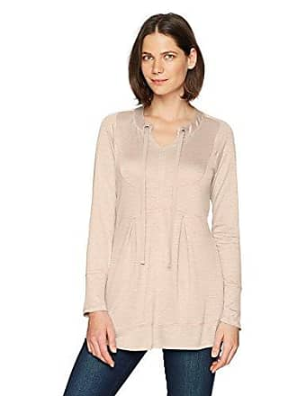 Oneworld Womens Long Sleeve French Terry Pullover Tunic, Peony Blush, Small