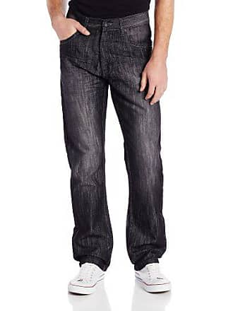 Southpole Mens 6181 Regular Straight Fit ShJeany Streaky Jean, Black S&, 34X32