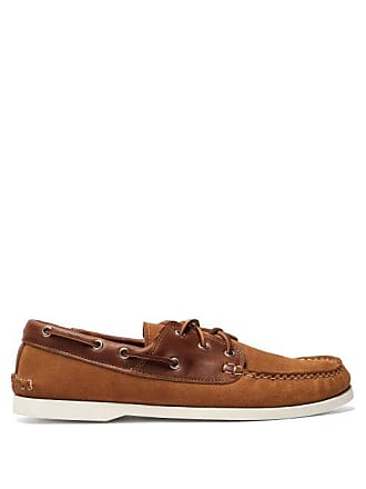 Quoddy Classic Suede And Leather Boat Shoes - Mens - Brown