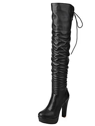 07a42edce21da2 Aiyoumei Damen Geschlossen Blockabsatz High Heels Overknee Stiefel mit  Plateau und Fell Gefüttert Warm Winter Langschaftstiefel