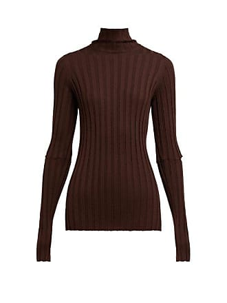 Helmut Lang High Neck Ribbed Knit Wool Sweater - Womens - Brown