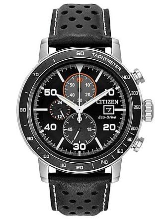 Zales Mens Citizen Eco-Drive Brycen Chronograph Strap Watch with Black Dial (Model: Ca0649-14E)