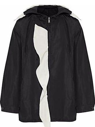 f294aa222873 Prada Prada Woman Ruffle-trimmed Silk-faille Hooded Jacket Black Size 42
