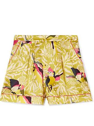 00766079da58a Eres Short De Pyjama En Satin De Soie Imprimé Calao - Vert sauge