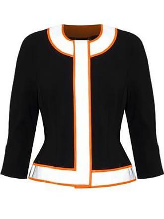 5e2e7c666fd Moschino Moschino Woman Neon-trimmed Crepe Jacket Black Size 40