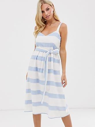 28de97261e3 Esprit tie waist linen midi cami dress in blue and white stripe