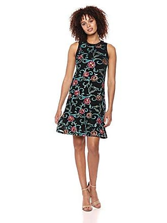 Karen Kane Womens Embroidered MESH Halter Dress, Black, Medium