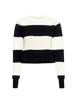 Tibi Apres Ski Striped Cropped Sweater Black/ivory Multi