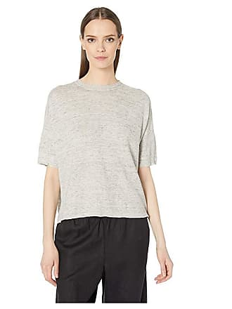 Eileen Fisher Organic Linen Melange Round Neck Tunic (Pearl) Womens Clothing