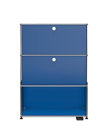 USM Haller E Regal mit Licht und USB-Charger - enzianblau RAL 5010/LxBxH 77x37x109cm/mit 2 Klapptüren