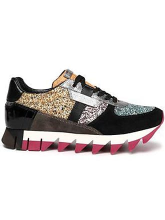 4ac24435713 Dolce   Gabbana Dolce   Gabbana Woman Glittered Paneled Suede Sneakers Gold  Size 36.5