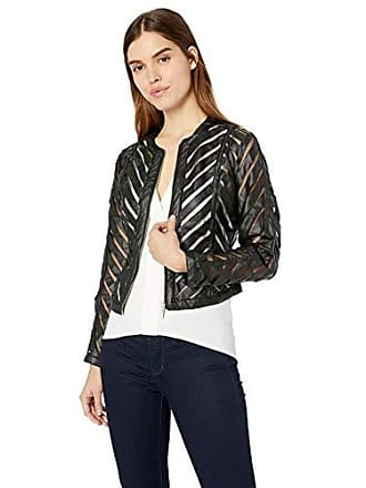 Yoki Womens Faux Leather Mesh Jacket, Black, Medium
