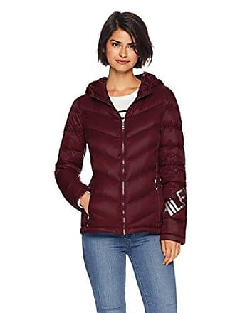 1c02aeb8260d Tommy Hilfiger Womens Hilfiger Logo Short Quilted Down Jacket with Hood