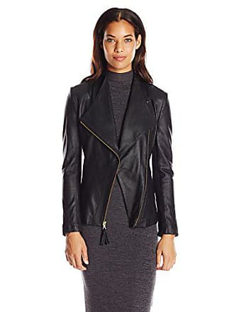 Via Spiga Womens Lightweight Leather Ponte Jacket, Jet Black, Large